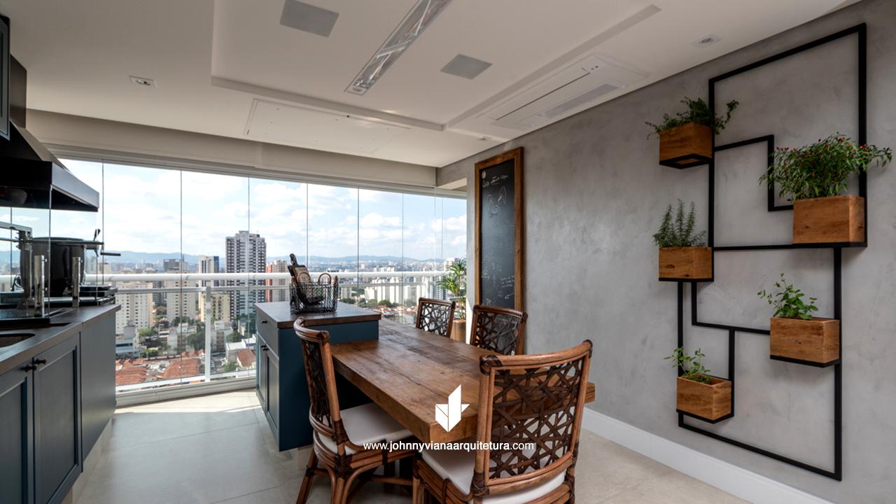 Projeto de varanda gourmet rústica para apartamento de alto padrão | Johnny Viana Arquitetura e Interiores