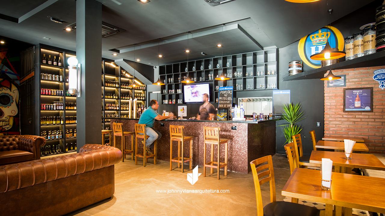 Bar da Barbearia Bravus - Projeto assinado por Johnny Viana Arquitetura