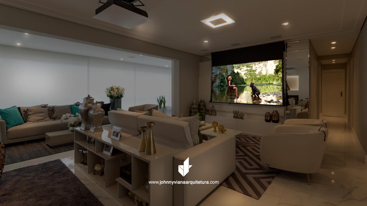 Sala de TV com home cinema integrado   Johnny Viana Arquitetura e Interiores