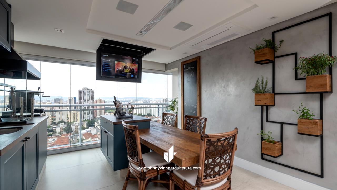 Projeto de varanda gourmet rústica para apartamento de alto padrão   Johnny Viana Arquitetura e Interiores