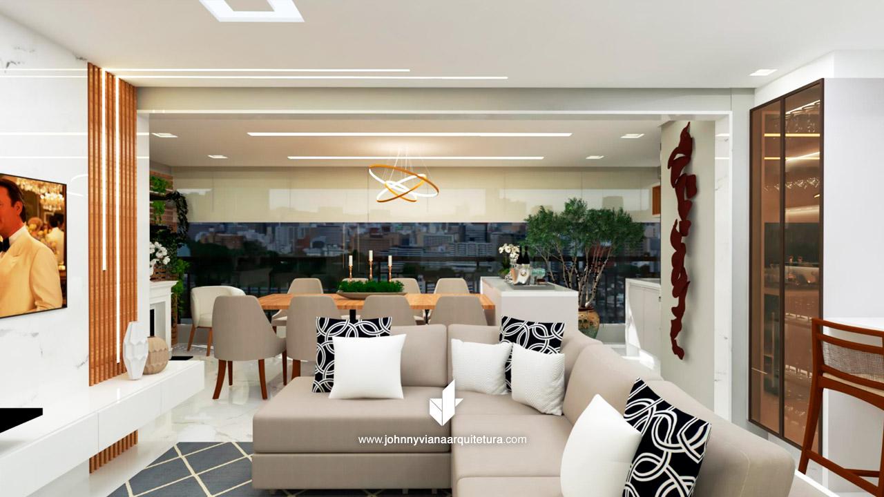 Projeto de arquitetura de alto padrão em 3D - Projeto 3D apartamento Tatuapé, Mooca e Jd. Anália Franco   Johnny viana Arquitetura e Interiores